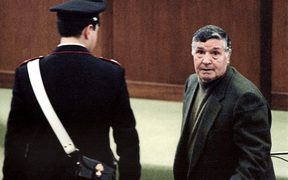"A 1993 picture shows mafia boss Salvatore ""Toto"" Riina during his trial at the high security prison Ucciardone in Palermo."
