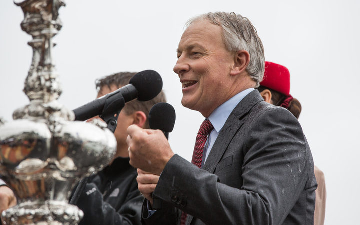 Auckland Mayor Phil Goff speaking at the parade held in his city to welcome Team NZ home, 6 July 2017.