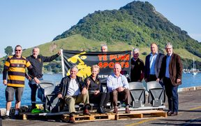 Lancaster Park seats arrive in Tauranga before being taken to Te Puke