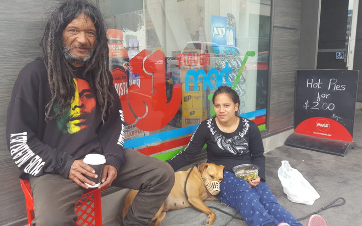 Tepi, who is homeless, with his niece, Banita. Photo / Logan Church