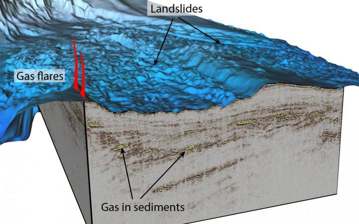A 3D image of one section of East Coast seafloor mapped in 3D, complete with methane deposits and flares.