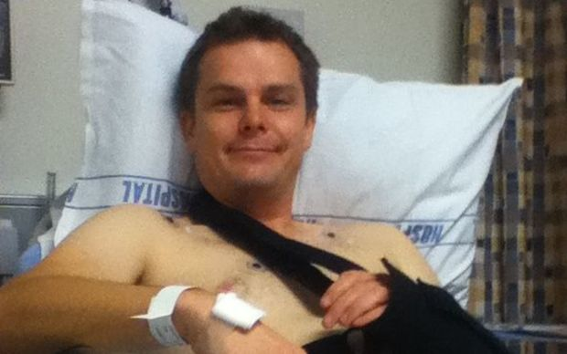 Matthew Pike in hospital following the seizure caused by eating Tutu.