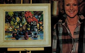 Marcia Page with an Evelyn Page still life: 30 years of the Tinakori / Page Blackie Gallery