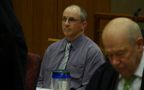 Scott Watson in court on 17 August, 2016 for a hearing about whether journalist Mike White can be present in his professional capacity at a meeting between Watson and Gerarld Hope.