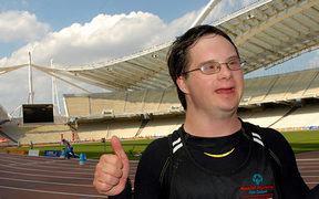 Andrew Oswin after winning gold in shot put at the 2011 Special Olympics World Summer Games