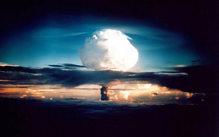 The cloud from an experimental thermonuclear device or H-bomb on Elugelab Island in the Enewetak atoll in 1952.