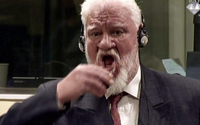 Slobodan Praljak seen in a videograb of footage of the International Criminal Tribunal.