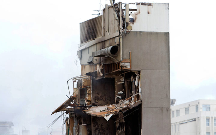 A picture shows the damaged CTV building in the central business district in Christchurch on February 23, 2011.