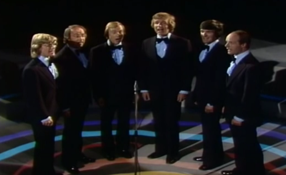 The original King's Singers, bass Brian Kay at right