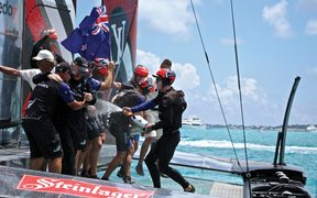 Emirates Team New Zealand at the finish line at the America's Cup in Bermuda 2017.