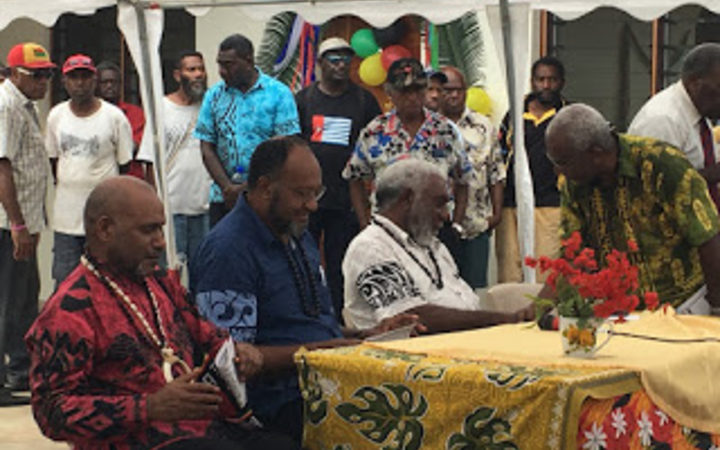 (from left:) United Liberation Movement for West Papua chairman Benny Wenda, Vanuatu prime minister Charlot Salwai and deputy prime minister Joe Natuman, as well as ULMWP deputy chairman Octo Mote at the Movement's summit in Port Vila, 1 December 2017.