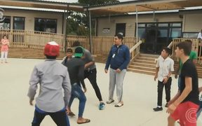Refugees play at the Mangere Refugee Resettlement Centre.