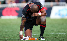Warriors Manu Vatuvei dejected after the Warriors lose the 