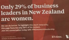 Westpac's ad in a special supplement highlighting inequality at the top in business.
