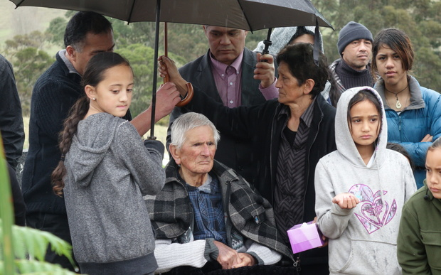 Sir Graham and other whanau at Lady Latimer's funeral.