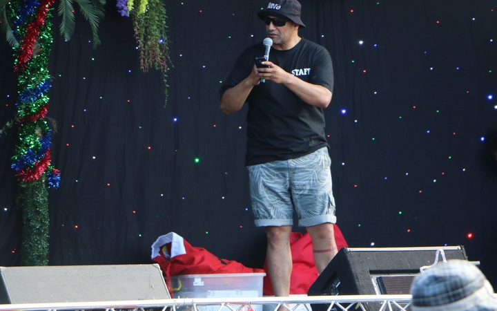 Hurimoana Denis is the MC for the night at Christmas at the Paa.