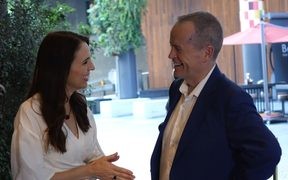 Jacinda Ardern and Bill Shorten before dinner.