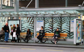 030314. Photo Todd Niall / RNZ. Auckland bus stop.