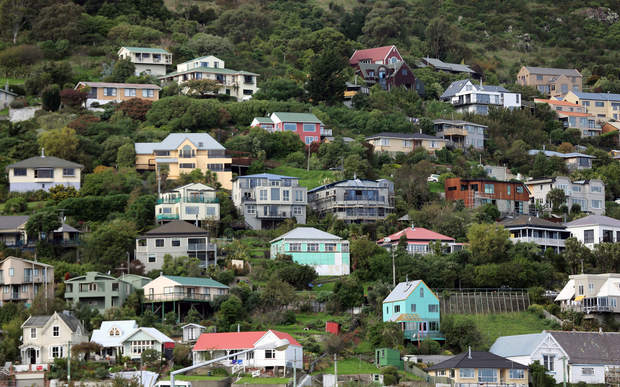 230414. Photo Diego Opatowski / RNZ. Christchurch. Houses on the hills in Lyttelton.