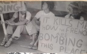Anti-nuclear campaigning has been conducted in the Pacific Islands for decades. This demonstration in Suva in the 1970s features Dr Vanessa Griffen on the right.