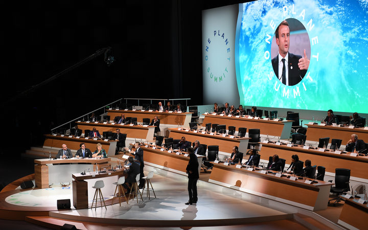 French president Emmanuel Macron speaks during the closing session of the One Planet Summit.