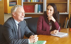Auckland mayor Phil Goff and Prime Minister Jacinda Ardern