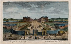 Coloured engraving of London's Foundling Hospital, 1753 by T. Bowler