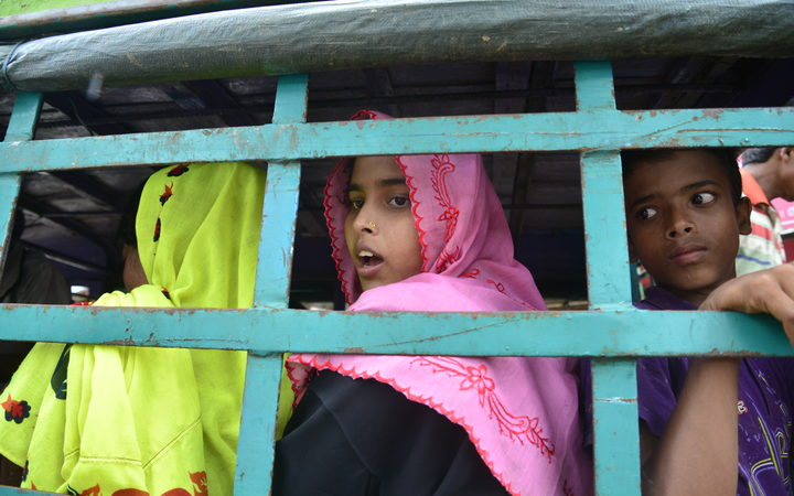 Rohingya refugees being moved to a camp after crossing the border from Myanmar into Bangladesh.