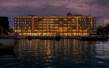 An artist's impression of the $200 million Park Hyatt on Auckland's waterfront at night.