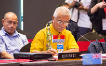 Kiribati President Anote Tong (centre) listens to a speaker during the smaller island states leaders' meeting as part of the Pacific Islands Forum in Port Moresby.