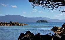The view towards Tamihau Island from Ulva Island, off the coast of Stewart Island.