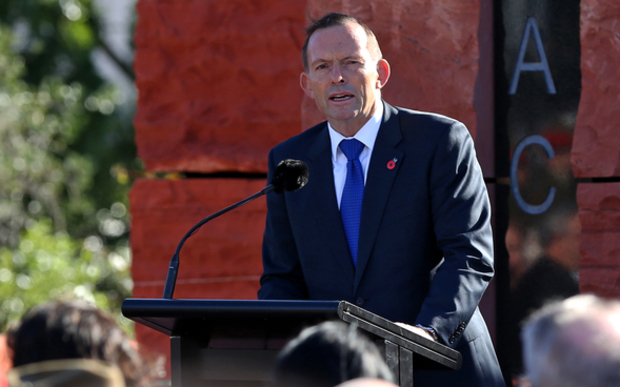 Australian Prime Minister Tony Abbott at the Australian Memorial at Pukeahu National War Memorial.
