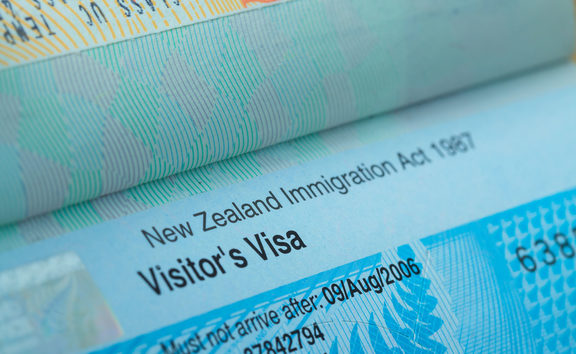 Passport stamp visa for travel concept background, New Zealand.