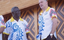Solomon Islands prime minister Manasseh Sogavare (left) and his New Zealand counterpart John Key at the 2015 Pacific Forum summit in Port Moresby.