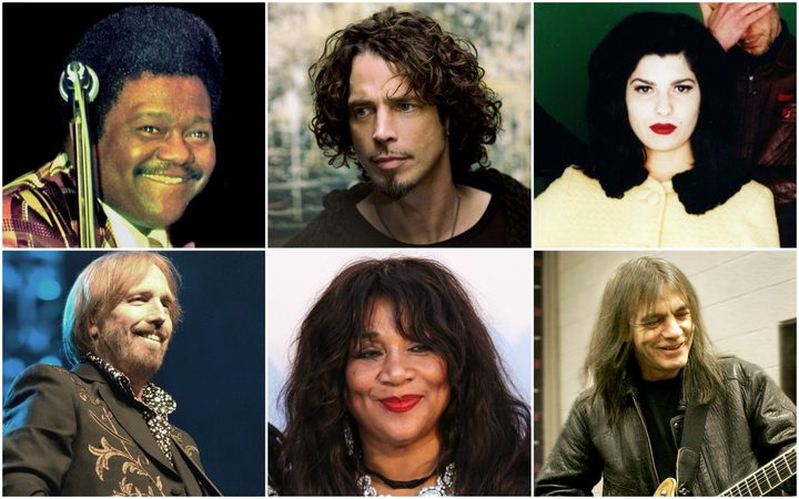 Clockwise from top left: Fats Domino, Chris Cornell, Celia Mancini, Malcolm Young, Joni Sledge and Tom Petty