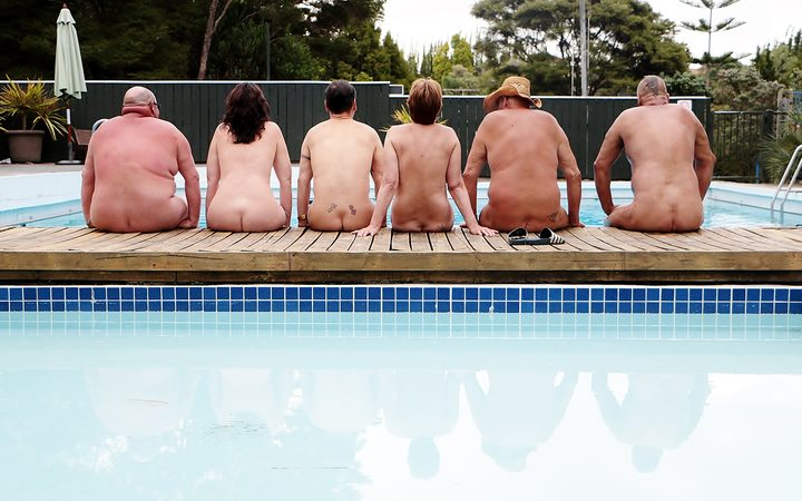 Nudists at The Auckland Outdoor Naturist Club.