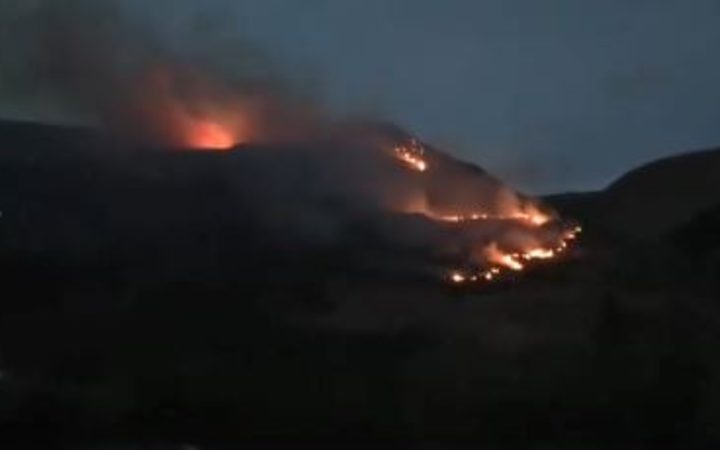 The fire on Mount Roy this morning.