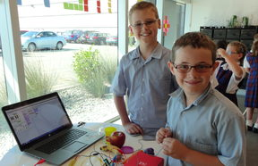 Apples, bananas and cabbage was all that these boys from St Theresa's school needed to create a musical instrument.