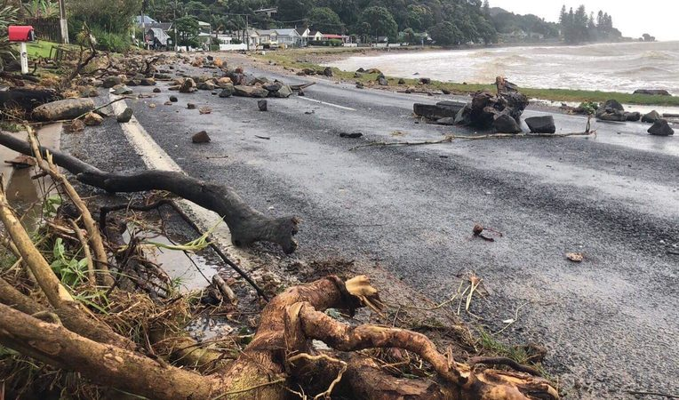 Rocks, trees and debris on the SH25 Thames Coast Road.