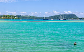 Yachts and tall ships on anchor in Vila bay - Port Vila, Efate island, Vanuatu.