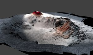 An artist's impression of the submarine volcano.