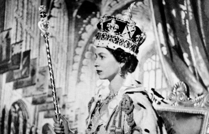 Queen Elizabeth II poses on her Coronation day