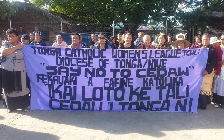 Tongan women protest against the United Nations Committee on the Elimination of Discrimination against Women, arguing it includes counter-culture clauses such as same sex marriage and abortion.