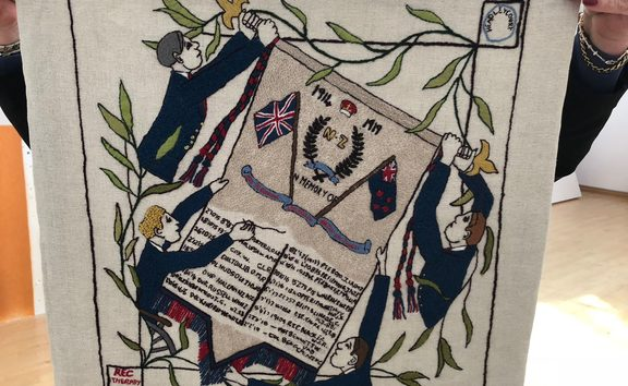 A panel stitched by recovering soldiers in the UK.