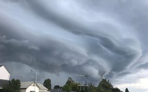 Cumulonimbus clouds over Napier on 23 January 2018