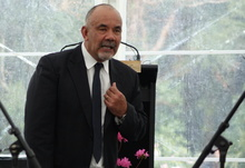 Te Ururoa Flavell at the signing of the Taranaki iwi's $70 million Treaty settlement.