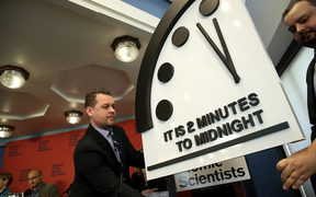 "The Bulletin of the Atomic Scientists unveil the 2018 ""Doomsday Clock"" January 25, 2018 in Washington, DC."