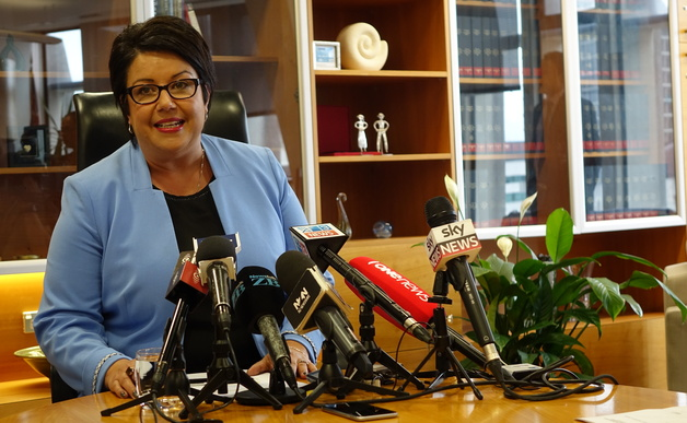 Associate Finance Minister Paula Bennett speaks in Wellington on 17 September 2015 following the government's rejection of a Chinese company's application to purchase Lochinver Station.