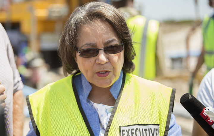 Cape Town City Mayor Patricia de Lille talks to media at a site where the city council has ordered drilling into an aquifer.