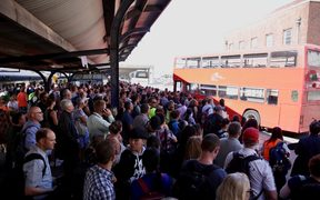 Commuters stranded at Wellington Railway Station.